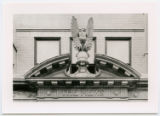 Lintel and pediment above doorway, Commerce St. entrance