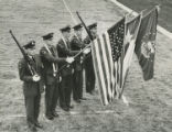 Air Force ROTC color guard on field