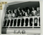 Kappa Alpha Theta sorority members on house balcony