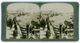 Freighters, ferries and ocean liners on Golden Horn; N. to Galata, Constantinople.