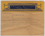 [Western Union Social Message from Murray L. Horn to His Mother, Mrs. Blanche L. Horn]