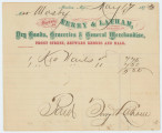 Receipt for Ms. Mosby from Terry & Latham, Dry Goods, Groceries & General Merchandise...
