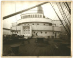 [Mauretania deck machinery and curved bridge front]