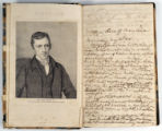 Engraving of John Emory and page one of journal. John Emory. [Journal]. Manuscript on paper....