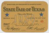 [Directors, Ex-presidents & Guests Ticket No. 45, State Fair of Texas, Season 1934]