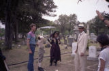 [Peggy Feury, Ken Harrison and William Converse-Roberts on Cemetery Set of '1918']