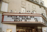 [Theater Marquee at Rialto Movie Theatre Advertising 'Horton Footes 1918']