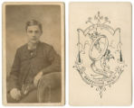 [Young man seated, with watch chain]