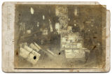 [Store interior with hanging bananas, Lone Oak, Texas]