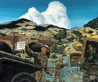 "Fred Toelle painting, ""MP directing traffic through a minefield"""