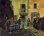 "Fred Toelle painting, ""Mess kit washing, Italy, 1945"""