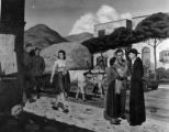 "Fred Toelle painting, ""Village scene, Italy, 1945"""