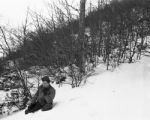 Melvin Shaffer watching the snow melt, hoping for spring, Apennines, 1945
