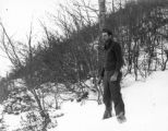 Unidentified soldier standing in the snow, Apennines, Italy, early Spring 1945