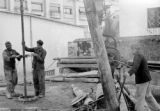 Drilling vent shaft for air raid shelter, University of Algiers, November 1943
