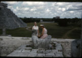 Chac Mool, Stone Maya-Toltec, Chichen Itza, Consuelo with hat, Anita Williams
