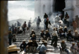 Chichicastenango, Guatemala, C. A., Indians burning copal (incense) as they go in church