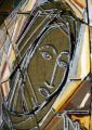 Unfired glass, detail, Catholic Student Center, ''Our Lady of the Throne of Wisdom'', Austin,...