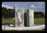 ''The Glorious Mysteries'', mosaic pylons, Calvary Hill Cemetery, Dallas, Tex., 1963-1965