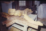 Crucifix, Fitting Sections 1, 2, 3. Bois d'Arc Wood. St. Andrew Catholic Church, Fort Worth, Tex....