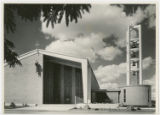 [Exterior of Saint Bernard of Clairvaux Catholic Church with Lead Repousse Saint Bernard of...