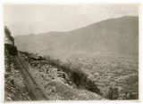 [Ferrocarril Mexicano locomotive overlooking valley]