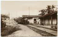 [Train approaching station near Hotel Europa]
