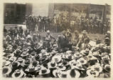 [Colonel William C. Greene addressing crowd of Mexican workers during miners' strike, 1906,...