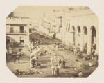 [Street Scene and Market with Some Military Men, Lower Center]