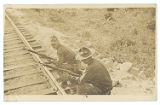[Soldiers With Bayonets on Railroad Tracks]