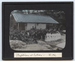 Lantern slide 'Baptism at Setoda - F.M.'