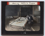 Lantern slide No. 16 'Making Mats in Japan'