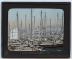 Lantern slide 'Japanese junks in Kobe harbour'