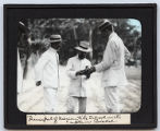 Lantern slide 'Principal of Mercentile School with Captain Bickel'