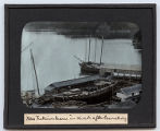 Lantern slide 'New Fukuin Maru in dock after launching'