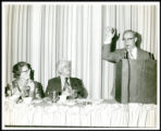 Photograph of Rabbi Levi A. Olan speaking during a luncheon on February 9, 1972 as part of...