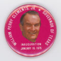 ['William Perry Clements, Jr. Inauguration' Pin-Back Button]