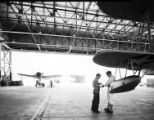 [Floatplanes in Hangar at Naval Air Station Corpus Christi, Bethlehem Steel Corporation]