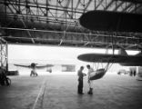 [Two Floatplanes in Hangar at Naval Air Station Corpus Christi, Bethlehem Steel Corporation]