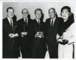 [James Laver, Andre Laguerre, Jules-Francois Crahay, Stanley Marcus, and Estee Lauder at 1962...
