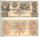 Republic of Texas $50.00 (fifty dollars) ''redback'' note