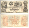 Republic of Texas $50 (fifty dollars) ''redback'' note