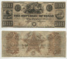 Republic of Texas $100.00 (one hundred dollars) ''redback'' note