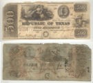 Republic of Texas $500.00 (five hundred dollars) ''redback'' note