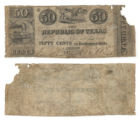 Republic of Texas 50 cents (fifty cents) exchequer bill