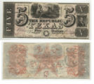 Republic of Texas $5.00 (five dollars) ''Redback'' note
