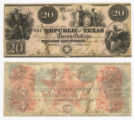 Republic of Texas $20.00 (twenty dollars) 'Redback' note