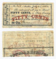 Browne & Burlage 50 cents (fifty cents) private scrip