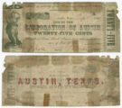 City of Austin 25 cents (twenty-five cents) municipal scrip
