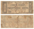 John F. Torrey 25 cents (twenty-five cents) private scrip